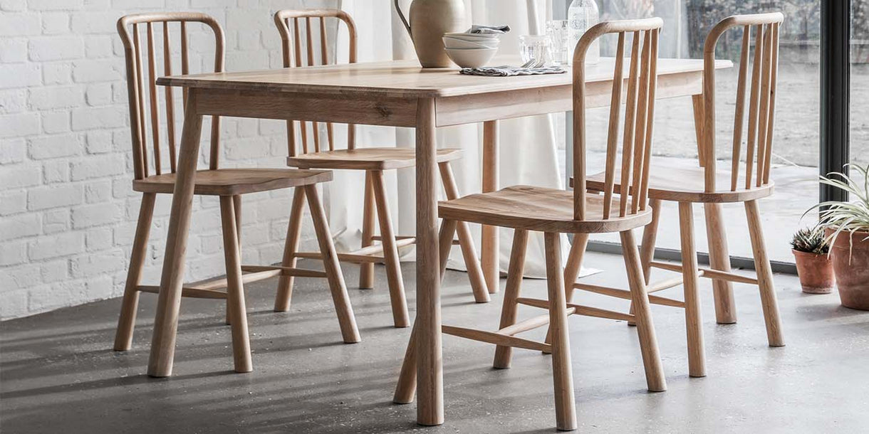 Hudson Living Wycombe Oak Dining Set with chairs
