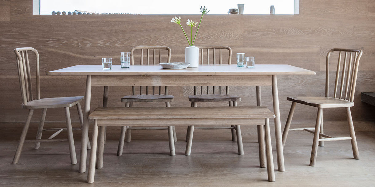 Hudson Living Wycombe Oak Extending Dining Table and Chairs