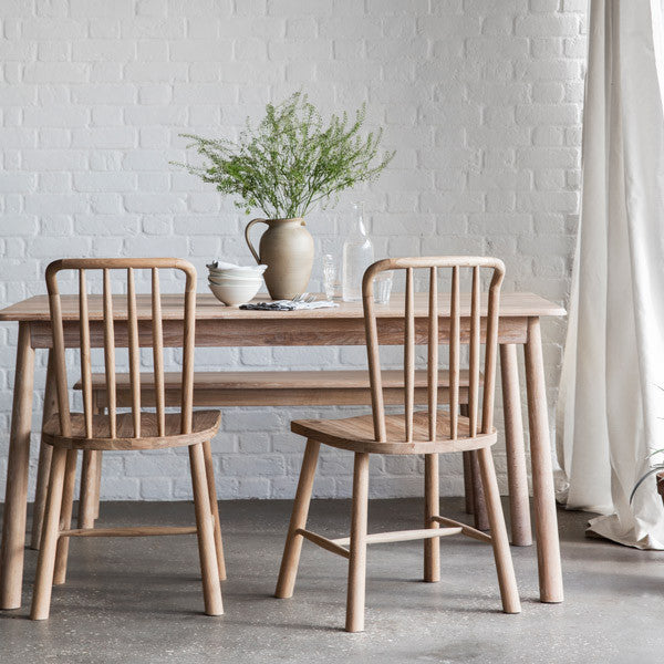 Hudson Living Wycombe Oak Dining Table with wooden dining chairs and bench
