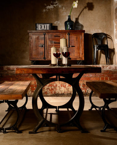 Hyatt Canning Industrial Reclaimed Wood Dining Set Table and Benches
