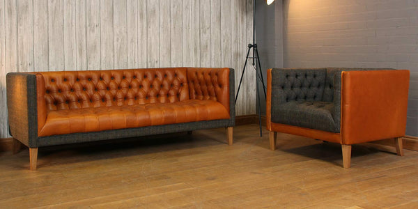 Bristol Leather and Harris Tweed Armchair and leather and wool sofa