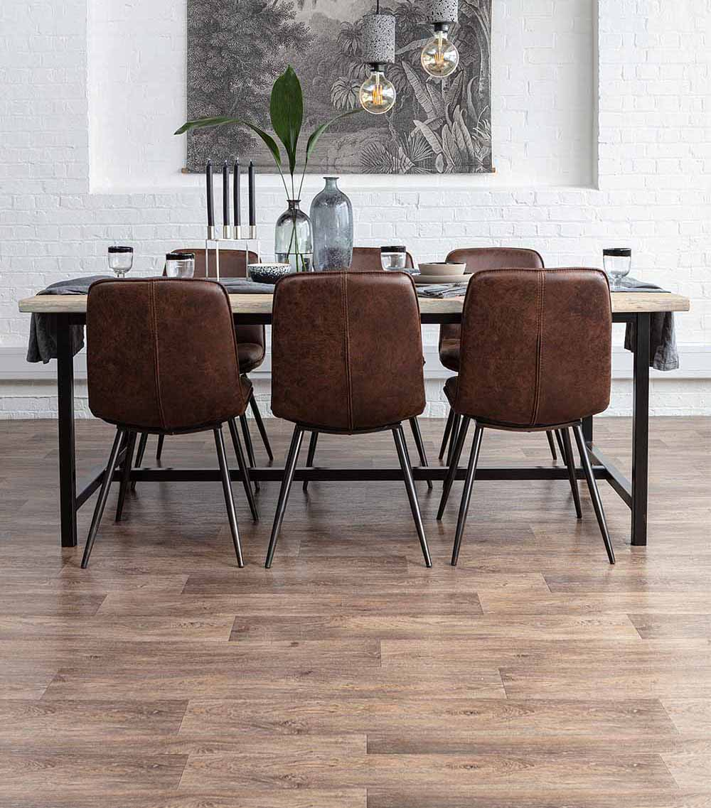 Amalfi Industrial Oak Dining Table and Brown Faux Leather Dining Chairs