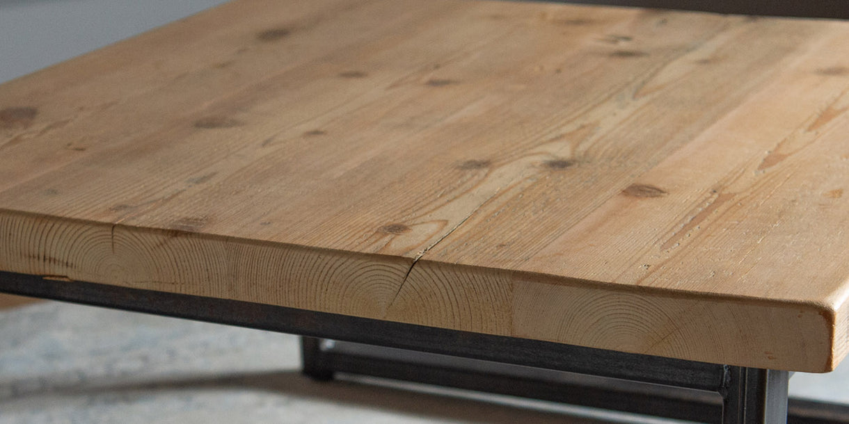 Industrial Wood Coffee Table Close up