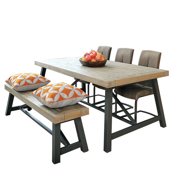 Lansdowne Reclaimed Wood Dining Table and Faux Leather Dining Chairs