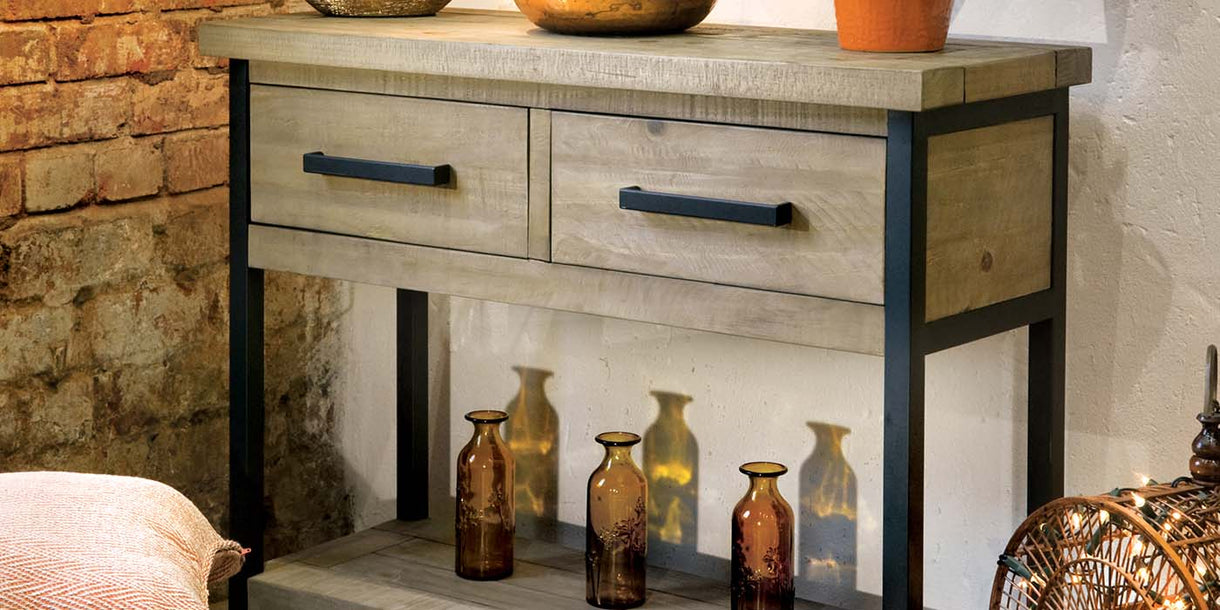 Industrial Lansdowne Reclaimed Wood Console Table Lifestyle