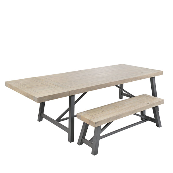Lansdowne Industrial Reclaimed Wood Table and Bench