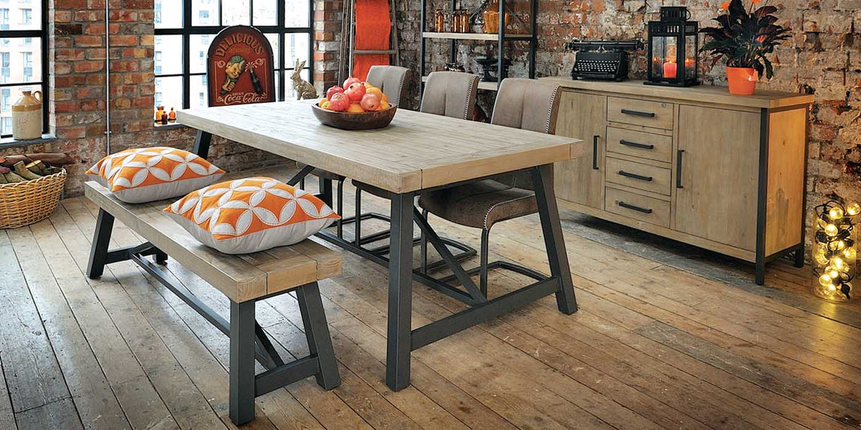 Lowry Industrial Reclaimed Wood Table and Bookcase