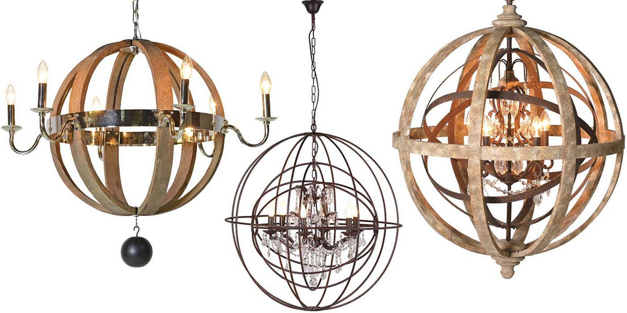 3 Circular Pendant Lights with Wood and Steel