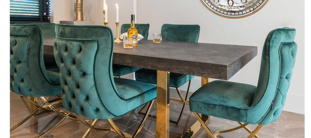 Blackbone Industrial Dining Table and Green upholstered chairs