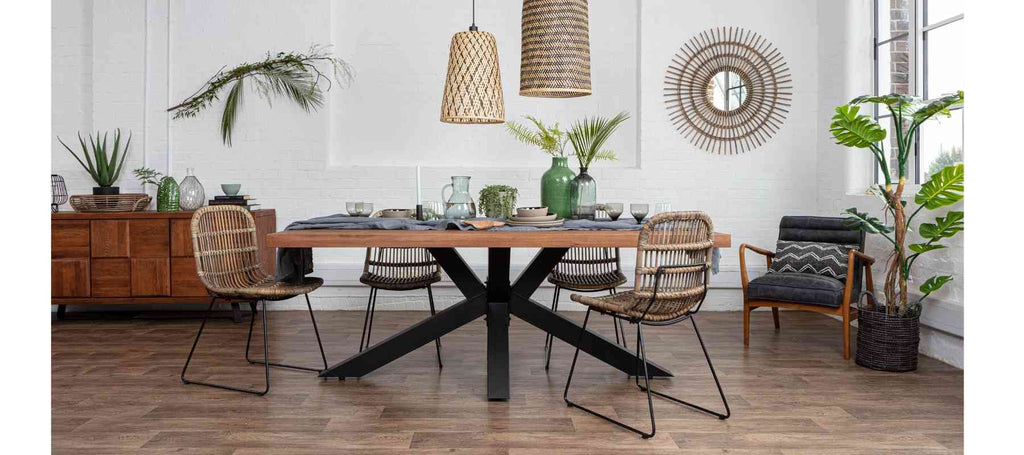 Spider leg industrial table with bamboo hanging pendants
