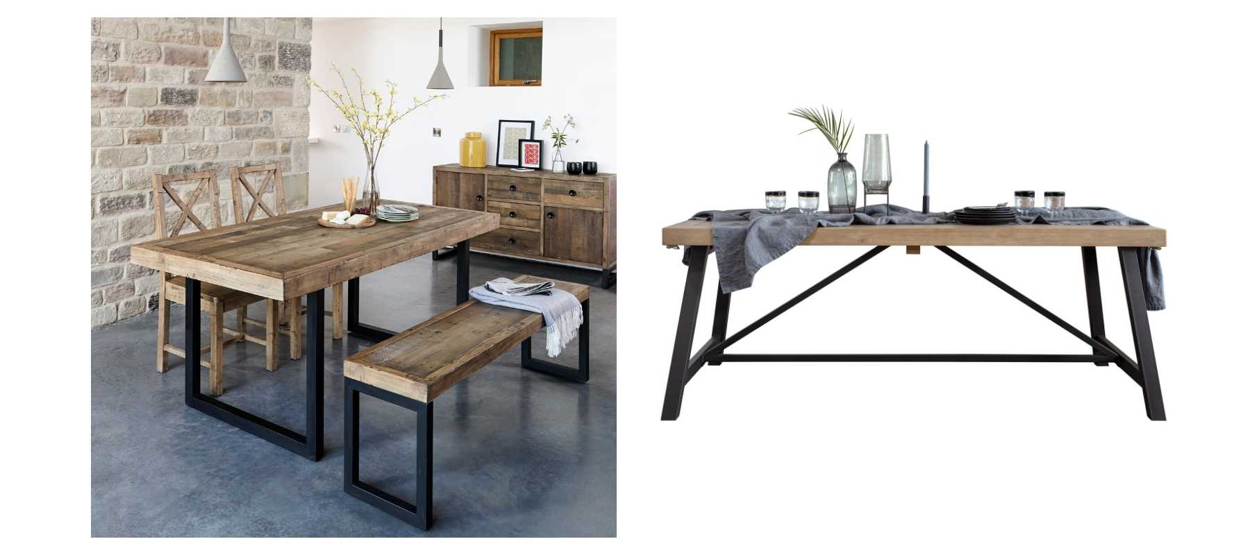 Standford Reclaimed Wood Table and Lansdowne Industrial Rustic Dining Table
