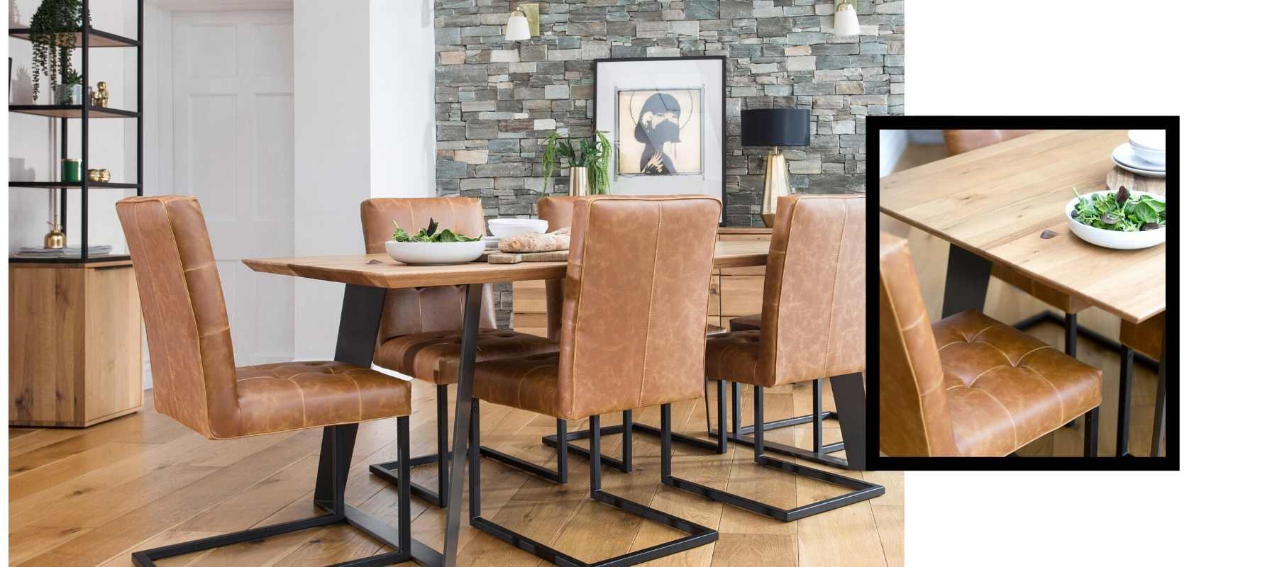 Rocco Industrial Oak Dining Table & Brown chairs