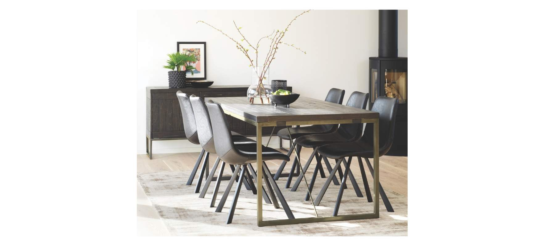 Tavistock Industrial Dining Table with bronze legs