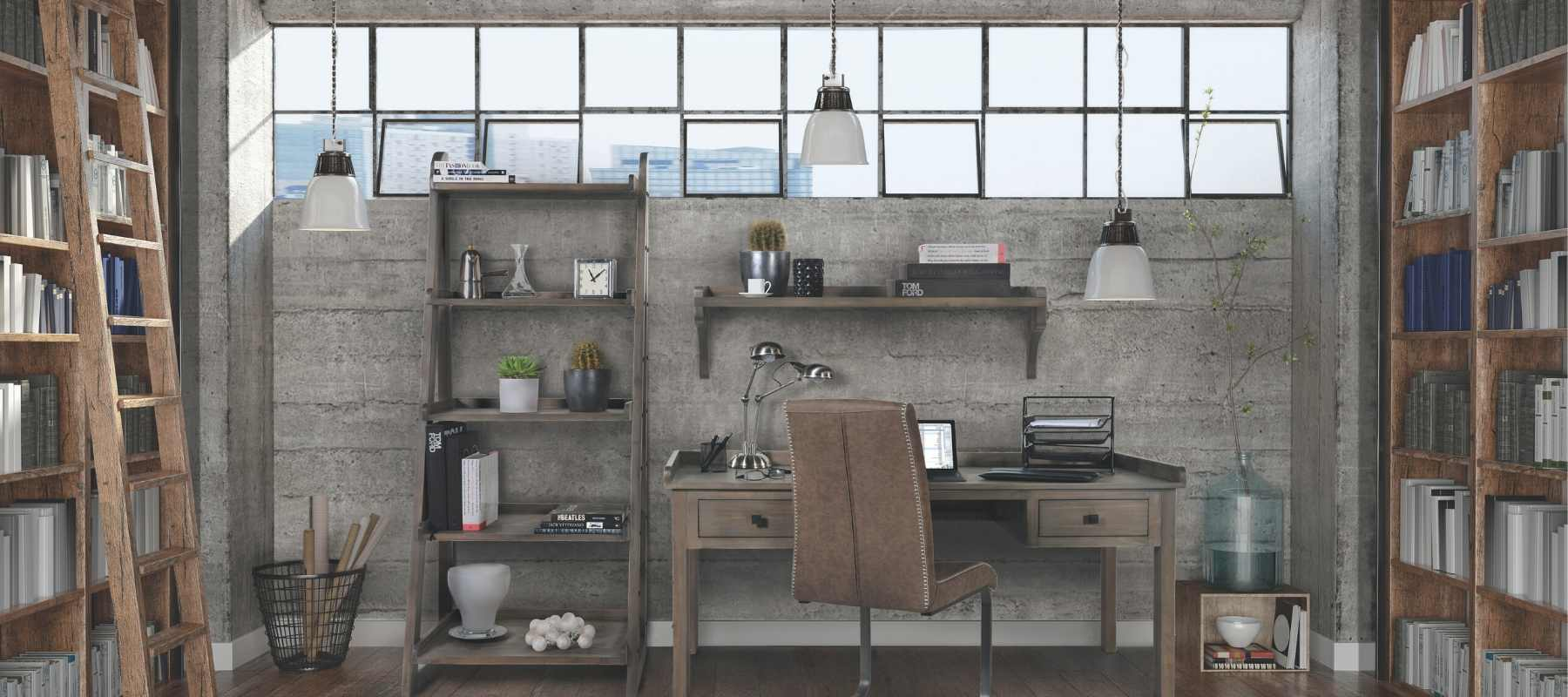 Industrial style home office with brown chair