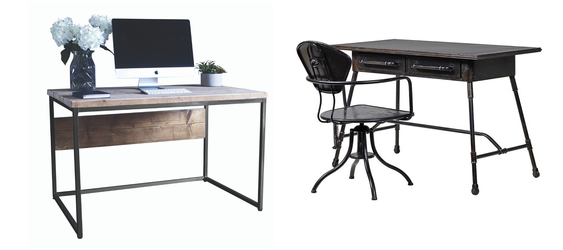 Two industrial style desks, including black metal desk