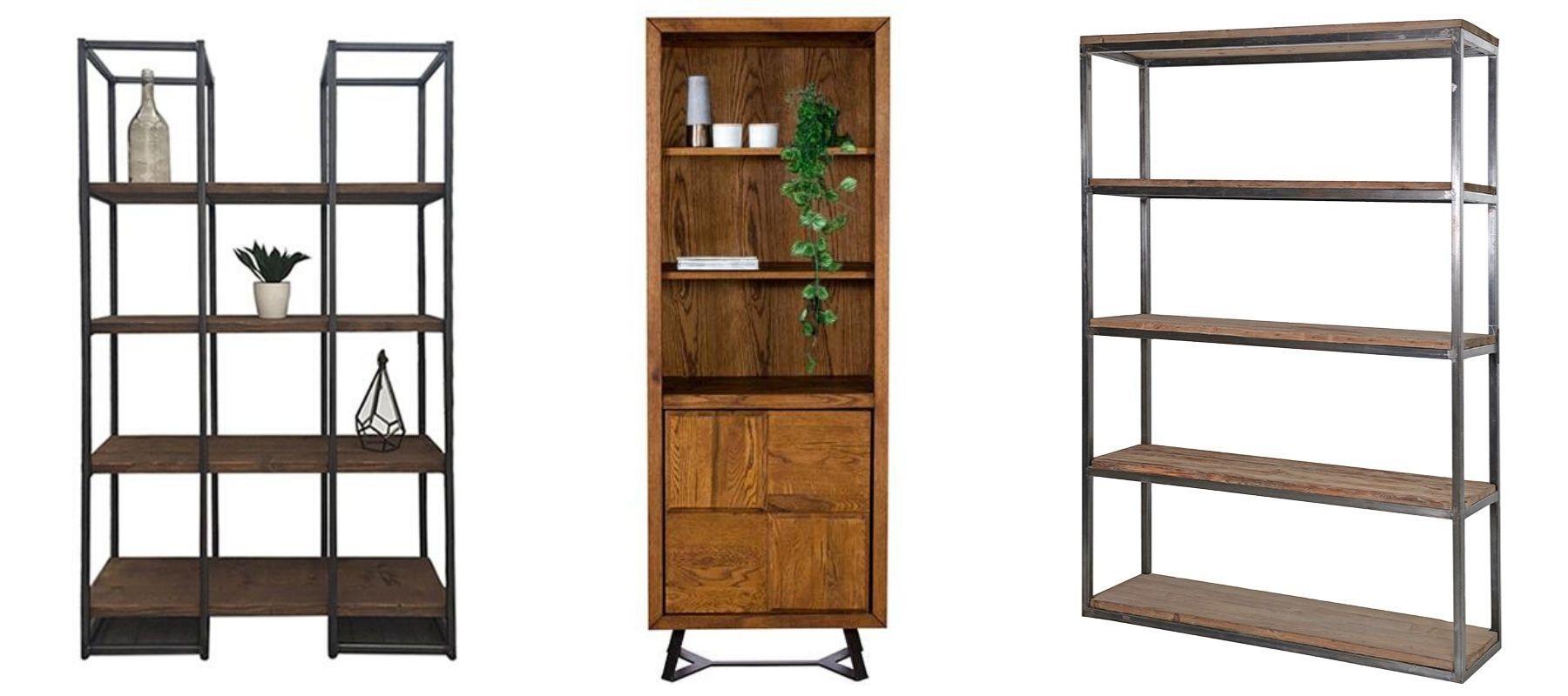 Three styles of industrial office storage, including metal bookcases