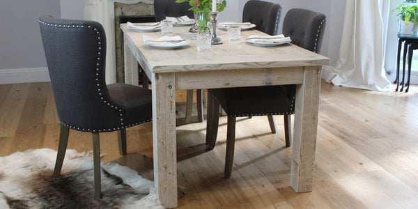 White Wash Inlay Reclaimed Wood Dining Table and Chairs