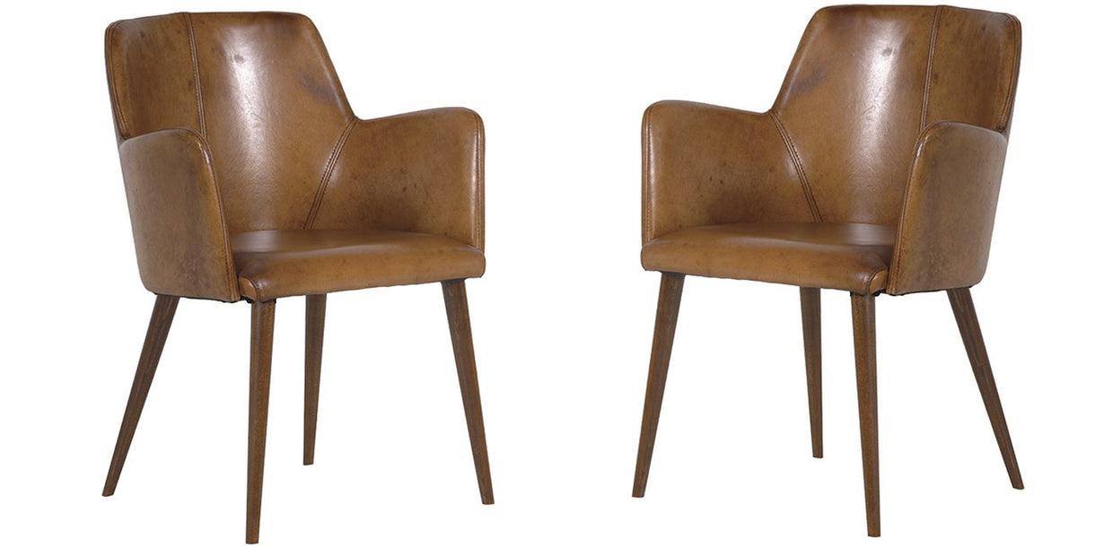 Italian Brown Leather Chairs With Arms
