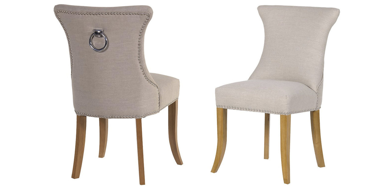 Ascot Ivory Studded Dining Chairs With Ring