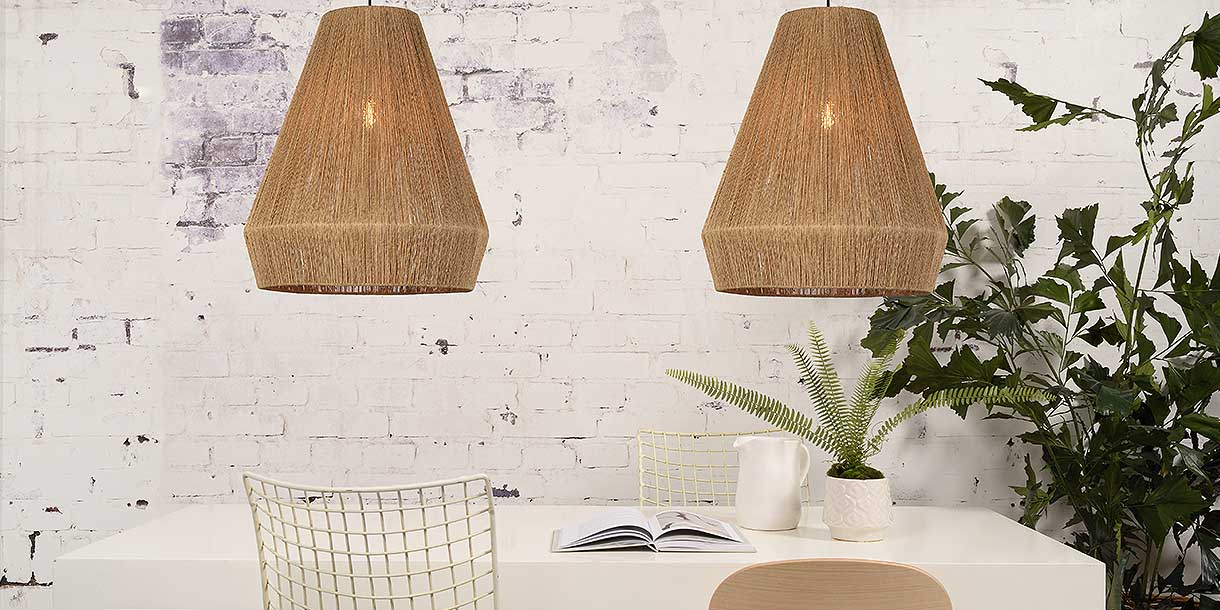 2 Karine Jute Pendant Lights above dining table with chairs