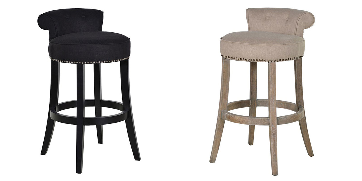 Kempley Roll Back Upholstered Bar Stools