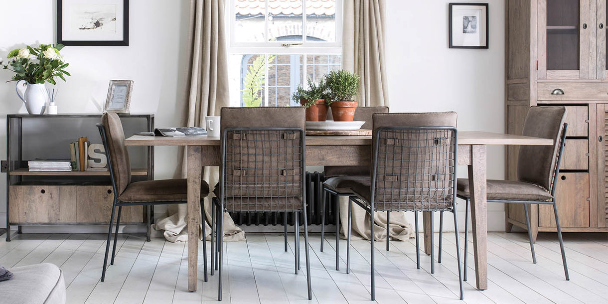 Kensal Extendable Wooden Dining Table and Faux Leather Dining Chairs