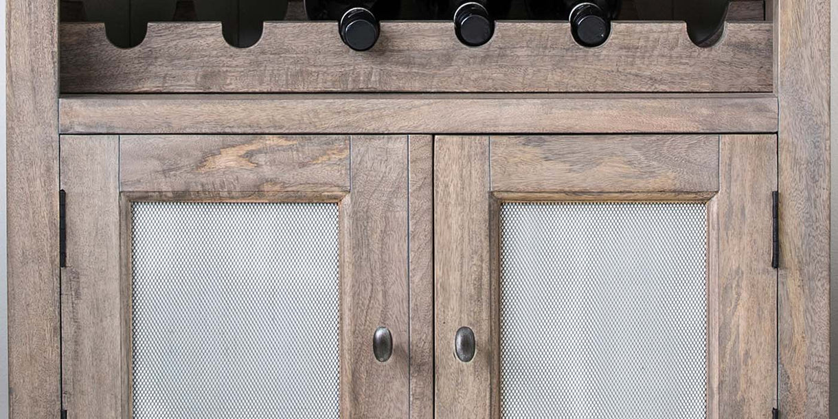 Kensal Wooden Medium Sideboard and Wine Rack Close up
