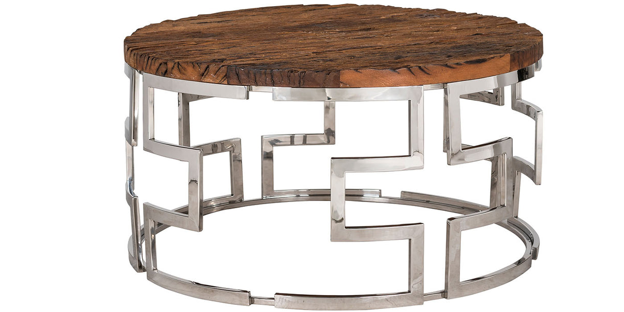 Luxe Kensington Reclaimed Wood Round Coffee Table cut out