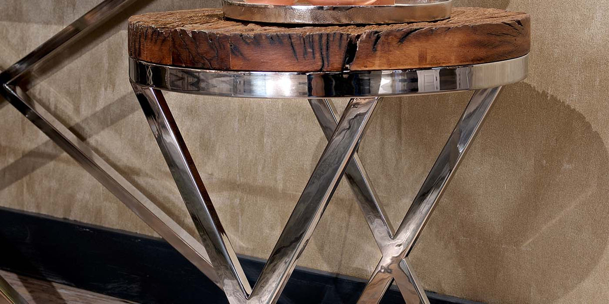 Luxe Kensington Reclaimed Wood Round Side Table