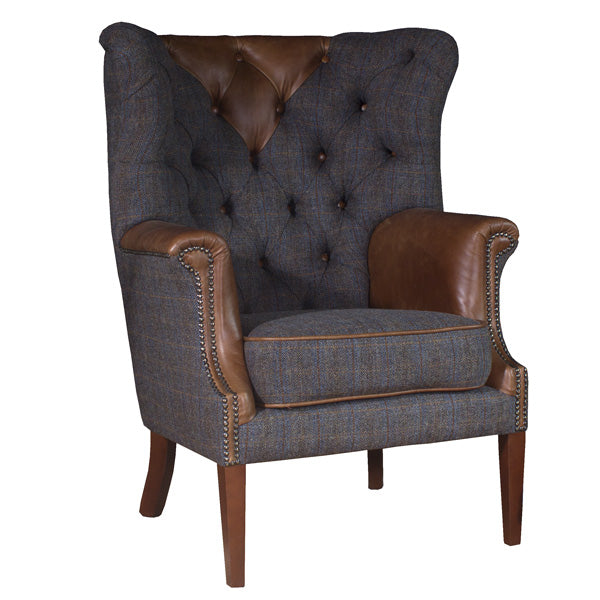 Kensington Wingback Leather and Harris Tweed Armchair