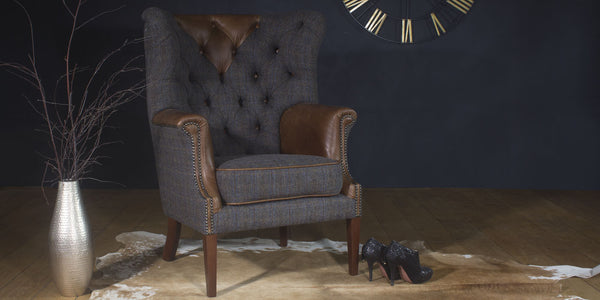 Kensington leather and harris tweed Armchair