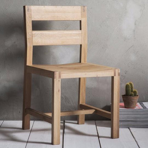 Pale oak wooden dining chair