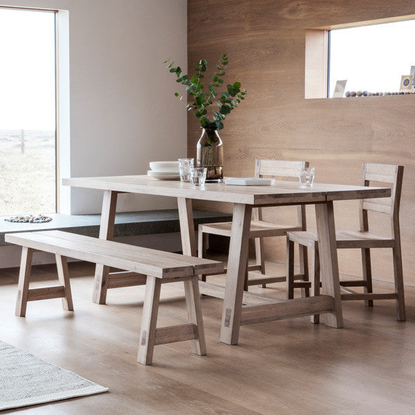 Hudson Living Kielder Oak Dining Table with dining chairs and wooden bench
