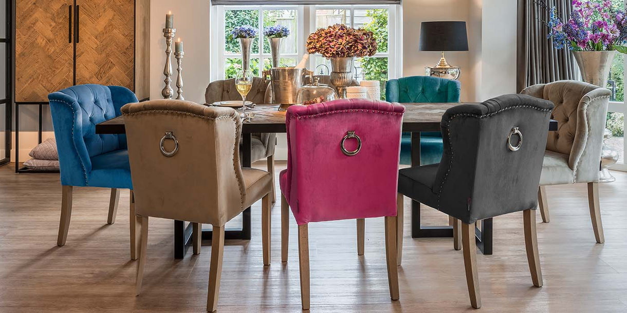 Luxe Macy Grey Upholstered Dining Chairs