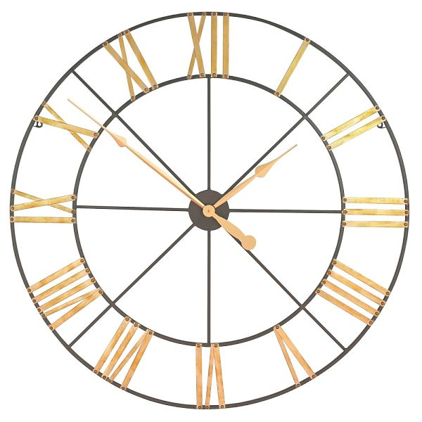 Large Metal and Gold Wall Clock