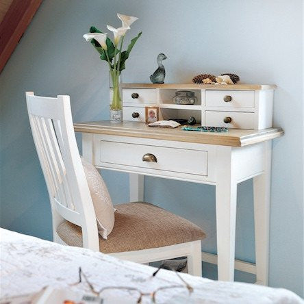 Savannah Small Reclaimed Wood Dressing Table in Bedroom with Chair