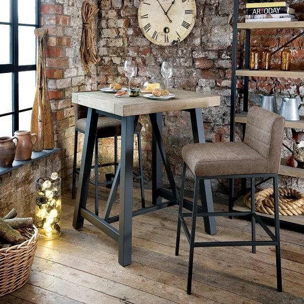 Lansdowne Faux Leather Industrial Bar Stools and Table