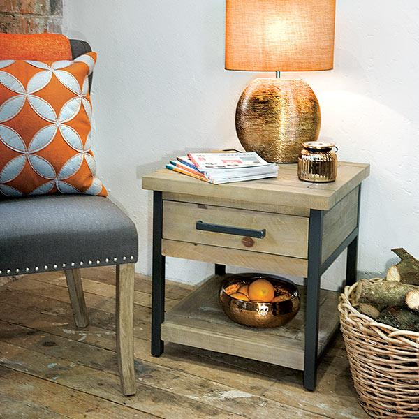 Industrial Lansdowne Reclaimed Wood Lamp Table