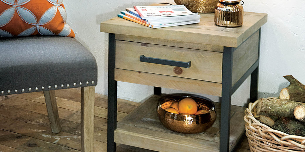 Industrial Lansdowne Rustic Wood Lamp Table in Room