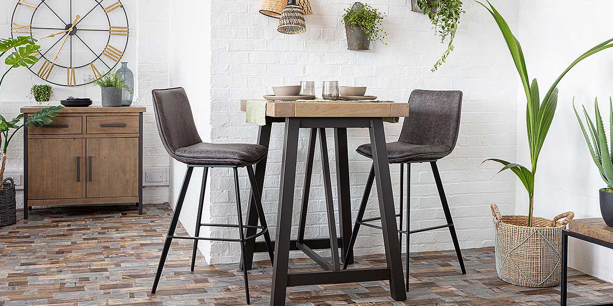 Bancroft Faux Leather Bar Stools and bar table