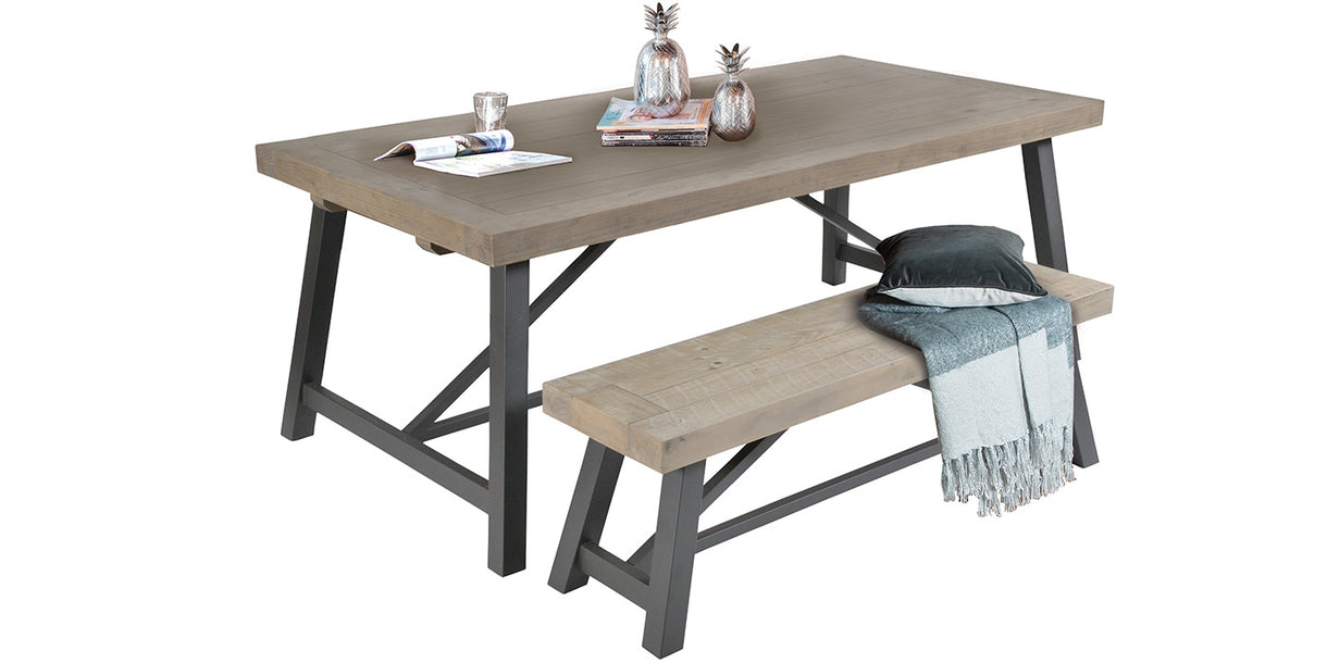 Industrial Lansdowne Rustic Wood Extending Dining Table and bench