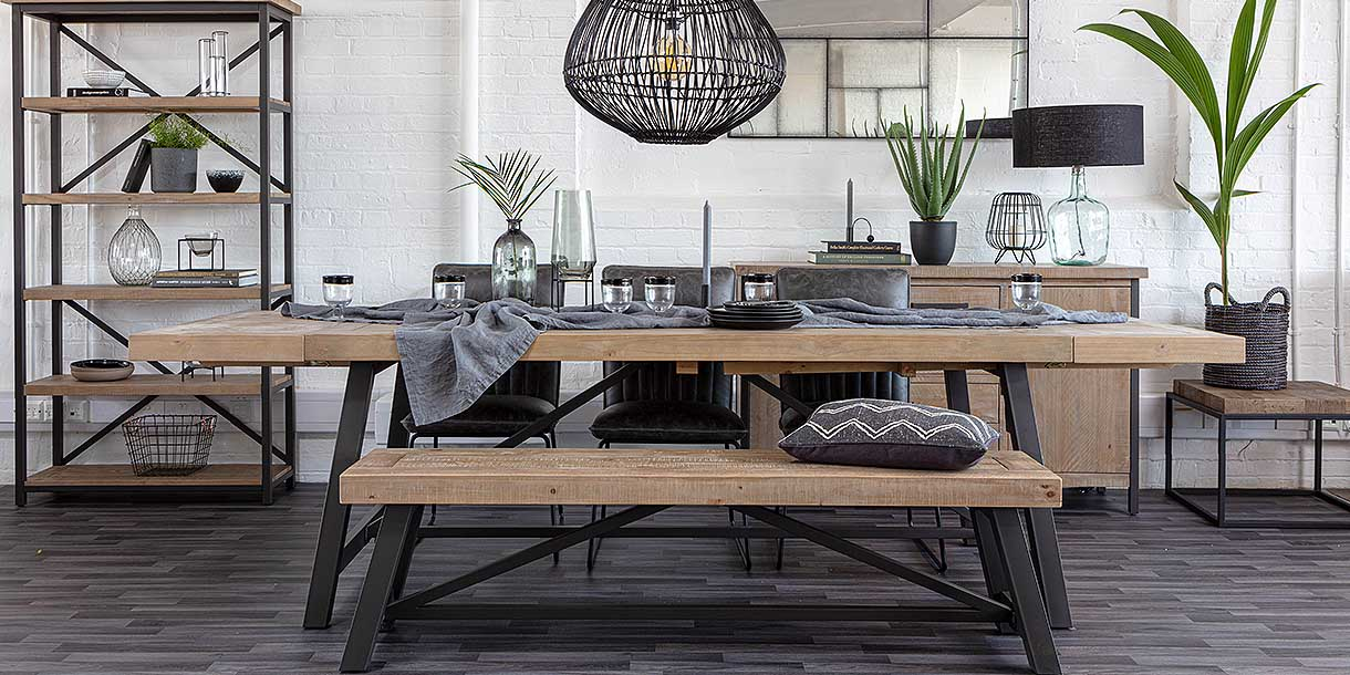 Large Industrial Lansdowne Reclaimed Wood Dining Set