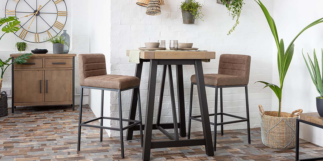 Industrial Lansdowne Rustic Wood Bar Table and chairs