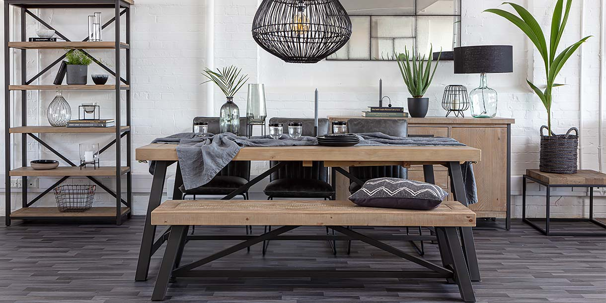 Industrial Lansdowne reclaimed Wood dining Bench in room