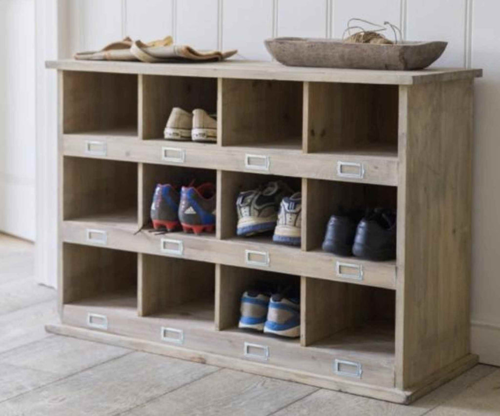 Large wooden shoe storage with 12 compartments