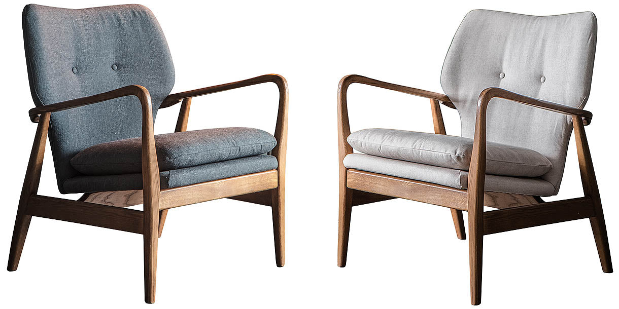 Larsine Grey and Natural Fabric Armchair