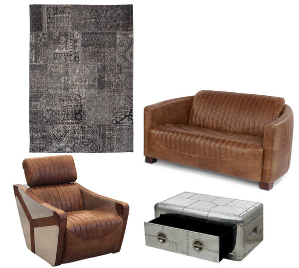 Aviator Coffee Table and Leather Armchair and Sofa