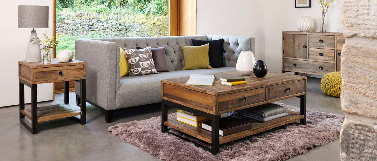 Standford Industrial Reclaimed Wood Furniture in Living Room