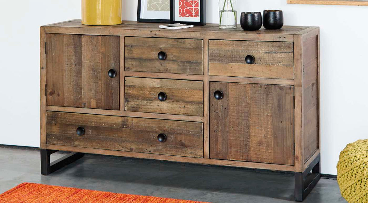 Standford Industrial Reclaimed Wood Large Sideboard in Dining Room