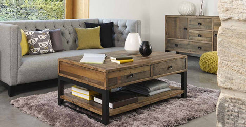 Wooden and bespoke reclaimed wood industrial coffee table in living room